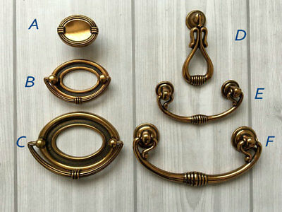 """1.75"""" 2.5"""" 3.75"""" Bail Drawer Pull Cabinet Handle Antique Gold Brass 44 64 96 mm"""