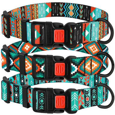Nylon Dog Collar with Buckle Adjustable Tribal Collars for Dogs Puppy S M L