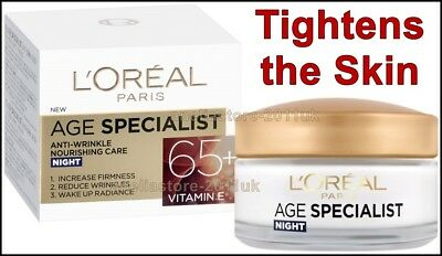 L'OREAL Age Specialist 65+ Anti-Aging NIGHT Cream 50ml Hydrates Skin