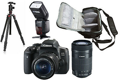 NEW Canon 750D + 18-55 + 55-250 STM + Bag + Flash + Tripod - UK NEXT DAY DEL