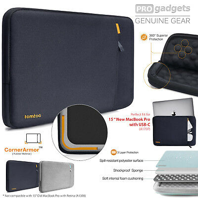 """Genuine tomtoc Protective Laptop Sleeve Case for New MacBook Pro 15"""" w Touch Bar"""