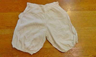 c1900 vintage cotton knickers, bloomers, off white pantaloons w/ button holes