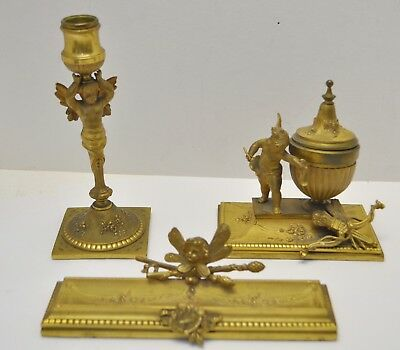 Antique French 19th century Gilt Bronze Inkwell, Pen & Candle holders Desk Set
