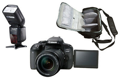 NEW Canon 800D + 18-135mm IS STM + KamKorda Bag + Flash - UK NEXT DAY DELIVERY