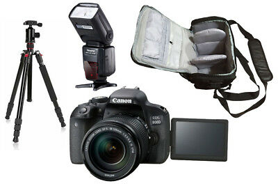 NEW Canon 800D + 18-135mm STM + KamKorda Bag + Flash + Tripod - UK NEXT DAY DEL