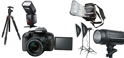 NEW Canon 800D+18-135mm STM +Bag+Flash+Tripod+Lighting Kit - UK NEXT DAY DEL