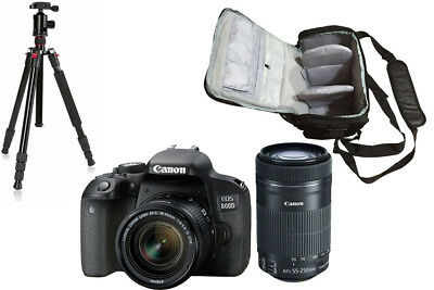 NEW Canon 800D + 18-55 STM + 55-250 STM + KamKorda Bag + Tripod UK NEXT DAY DEL