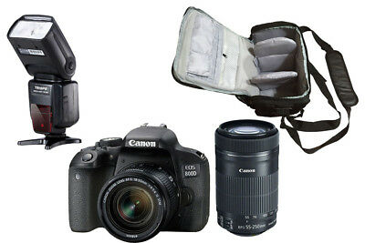 NEW Canon 800D + 18-55 STM + 55-250 STM + KamKorda Bag + Flash - UK NEXT DAY DEL