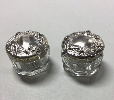 Two Crystal Glass Vanity Jars With Sterling Lids