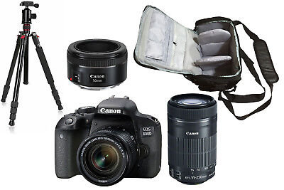 NEW Canon 800D + 18-55mm+55-250mm+50mm STM + Bag + Tripod - UK NEXT DAY DEL