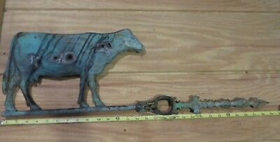 Large hollow cow weather vane lightning rod arrow antique weathervane