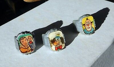 Three 1950's Howdy Doody Flicker Rings Nabisco Cereal Premiums - very nice!