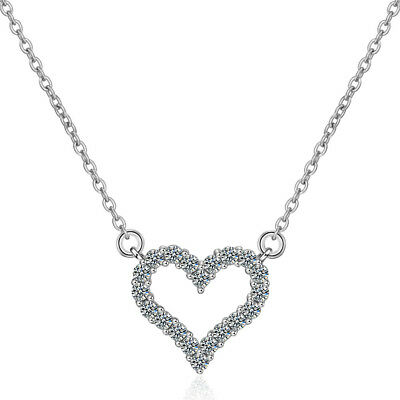 925 Sterling Silver Inlay Crystals Heart Pendant Necklace Women Birthday Gift