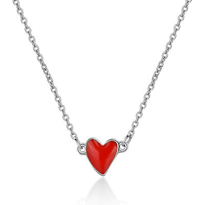 Red Love Heart Pendant 925 Sterling Silver Necklace For Women Valentine's Day