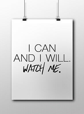 I Can And I Will Motivational Inspirational Quote Poster Print Wall Art