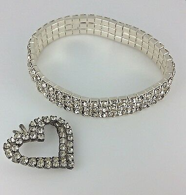 VINTAGE JEWELRY RHINESTONE AND SILVER TONE BRACELET and HEART PENDANT
