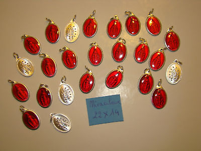 PROMO  lot  25 medaille Vierge Miraculeuse alu + couleur rouge Catherine LABOURE