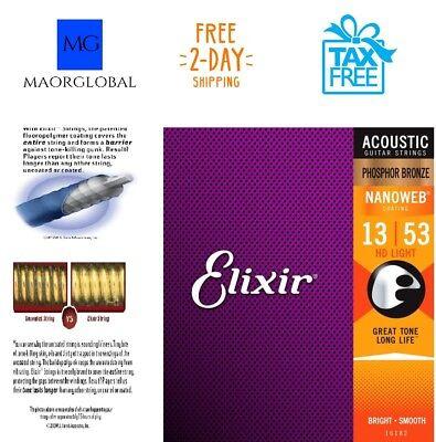 elixir nanoweb phosphor bronze acoustic guitar strings hd light gauge 13 53 eur 16 61. Black Bedroom Furniture Sets. Home Design Ideas