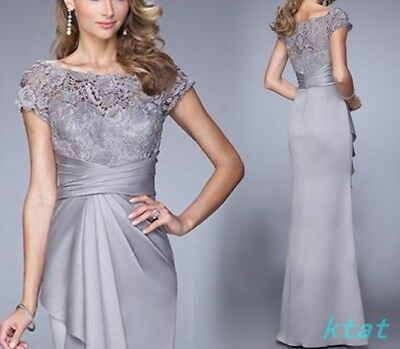 Slim Fit Lace Womens Long Prom Dress Evening Party Wedding Formal Gray Bridal SZ