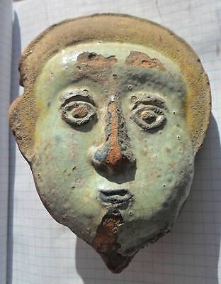Ancient 6-10 century  BYZANTINE art- terracotta holy or king  head with enamel.