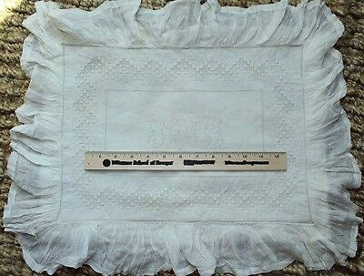 Boudoir Antique 1870 French Hand Lace/Embroidery Linen Initialed DCM PillowCover