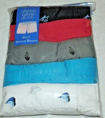 New Boys size XL 14-16 Woven Boxers 5 Pack Faded Glory Fish Sail Boat Shark