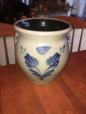 ROWE POTTERY HISTORICAL COLLECTION VASE 1998...Blue Decorated Crock