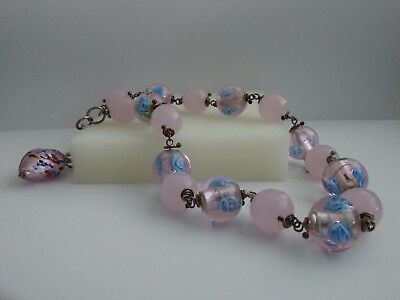Vintage pink quartz and murano glass beads with sterling silver joints necklace.