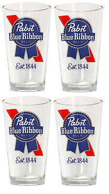 4 - Pabst Blue Ribbon, Est. 1844, PBR, Pint Beer Mixing Glass Glasses 16oz. NEW