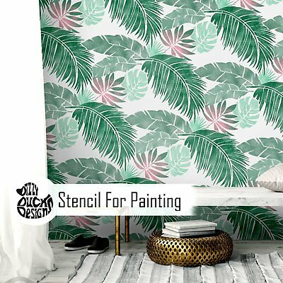 Tropical Jungle Leaf Wall Stencil for Painting WL