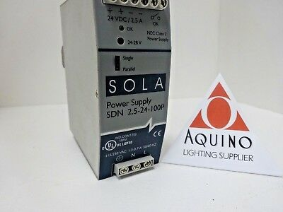Sola Power Supply Sdn-2.5-24-100P, 24Vdc/2.5A, Nec Class 2