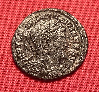 Ancient Roman Silvered Bronze Constantinus AE3 Coin, Helmeted Emperor!