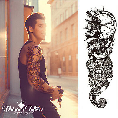Temporary Tattoo Sleeve, Polynesian, Tribal, Maori, Skull, Clock, Mens, Womens