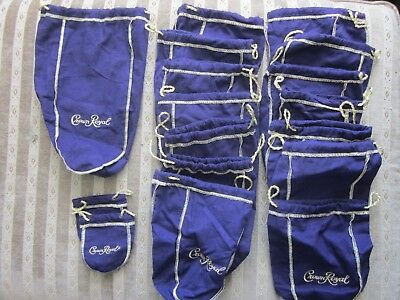 MIXED Lot of 17  Purple Crown Royal Bags