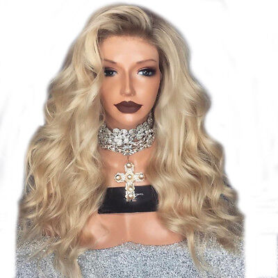Women Natural Full Curly Thick Blonde Two Tone Wavy Synthetic LaceFront Hair Wig