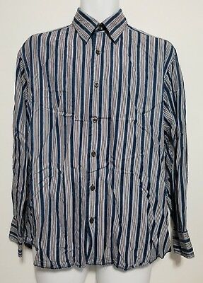 26b7e7a6e8 Men's Tommy Bahama Silk Long Sleeve Button Red White Blue Striped Shirt  Medium
