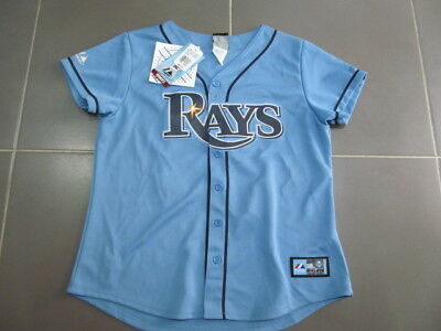 New Ladies Womens Tampa Bay Devil Rays Sewn Claire Authentic Baseball Jersey-L