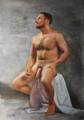 Gay Interest Original Aquarel Painting Nude Male A4 Size