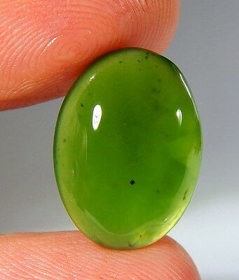 09 Ct Natural Ring Size Deep Green Serpentine  Jade Oval Cabochon  Gemstone A140