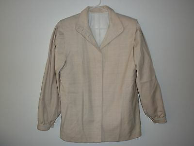 Woolworths Ladies Vintage Wool Suit in Beige with Leather Trim Size 10J/12S
