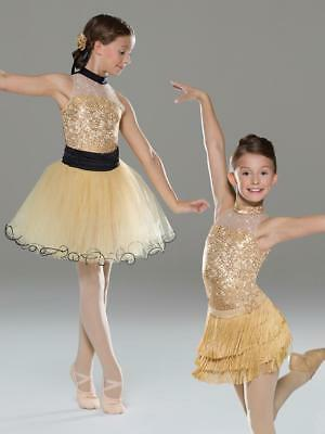 Dance Costume XS Child Gold Black 2in1 Ballet Jazz Tap Solo Competition Pageant
