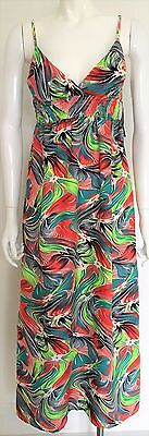 Bnwt One Step Up Eye Candy Lime/blue/white/red/grey Maxi Dress Size 10