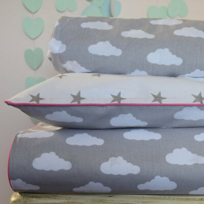 Bedding baby girl Cot Bed Duvet Cover Set & Fitted Sheet clouds stars grey white