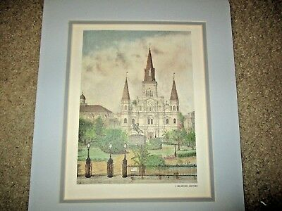 New Orleans Print VTG MIP Matted B & W St. Louis Cathedral, Archies Sketches