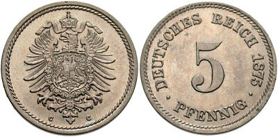 GERMANY Wilhelm I 1875 C 5 Pfennig NGC MS-64
