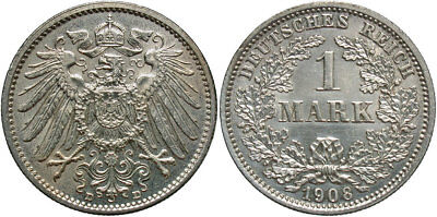 GERMANY: 1908-D 1 Mark #WC71356