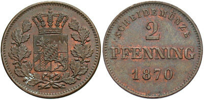 GERMANY: Bavaria 1870 2 Pfennig #WC69378