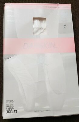Danskin 703 Girls  Size TOD  student all occasion FootedTights color White
