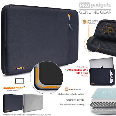 "Genuine tomtoc Protective Laptop Sleeve Case for Macbook Pro Retina 15"" /XPS 15"""
