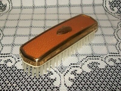 VINTAGE MENS' CLOTHING / GARMENT BRUSH gold-tone/leather-look